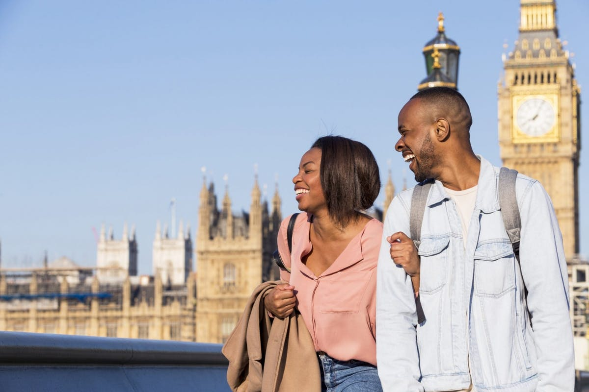 A couple on a date in London