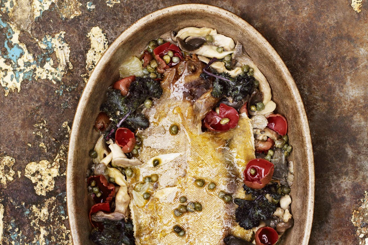 Petersham Nurseries recipes: whole baked lemon sole with wild mushrooms, capers and kale