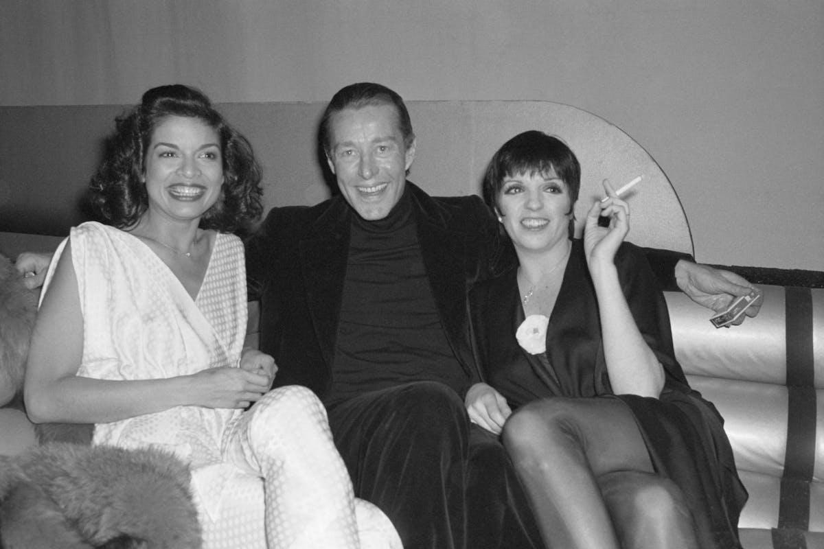 Bianca Jagger, Halston and Liza Minnelli at Studio 54 ahead of Minnelli's 32nd birthday party.
