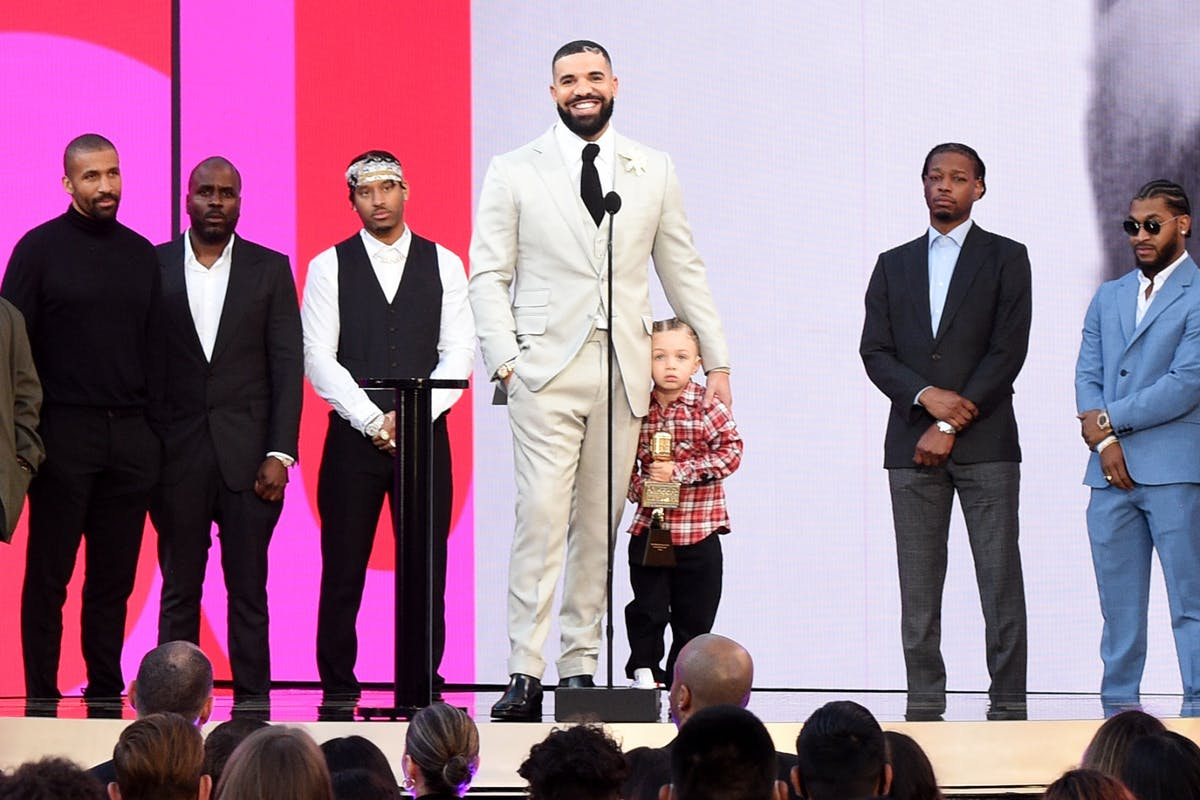 Billboard Awards 2021: (3rd from L) Future the Prince, Drake, Adonis Graham, CJ Gibson, and guest join Drake (C) onstage as he accepts the Artist of the Decade Award for the 2021 Billboard Music Awards, broadcast on May 23, 2021 at Microsoft Theater in Los Angeles, California. (Photo by Kevin Mazur/Getty Images)