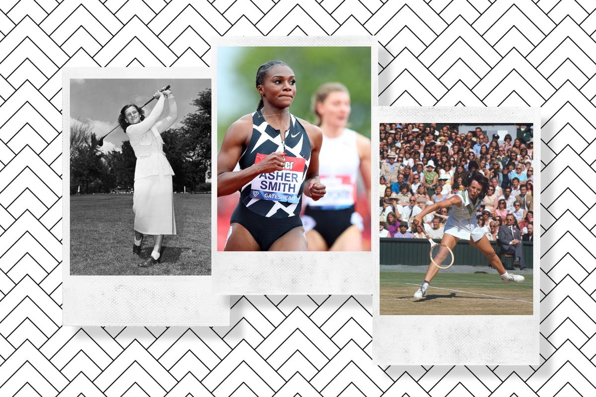 Collage of Babe Didrikson Zaharias, Dina Asher-Smith and Billie Jean King.