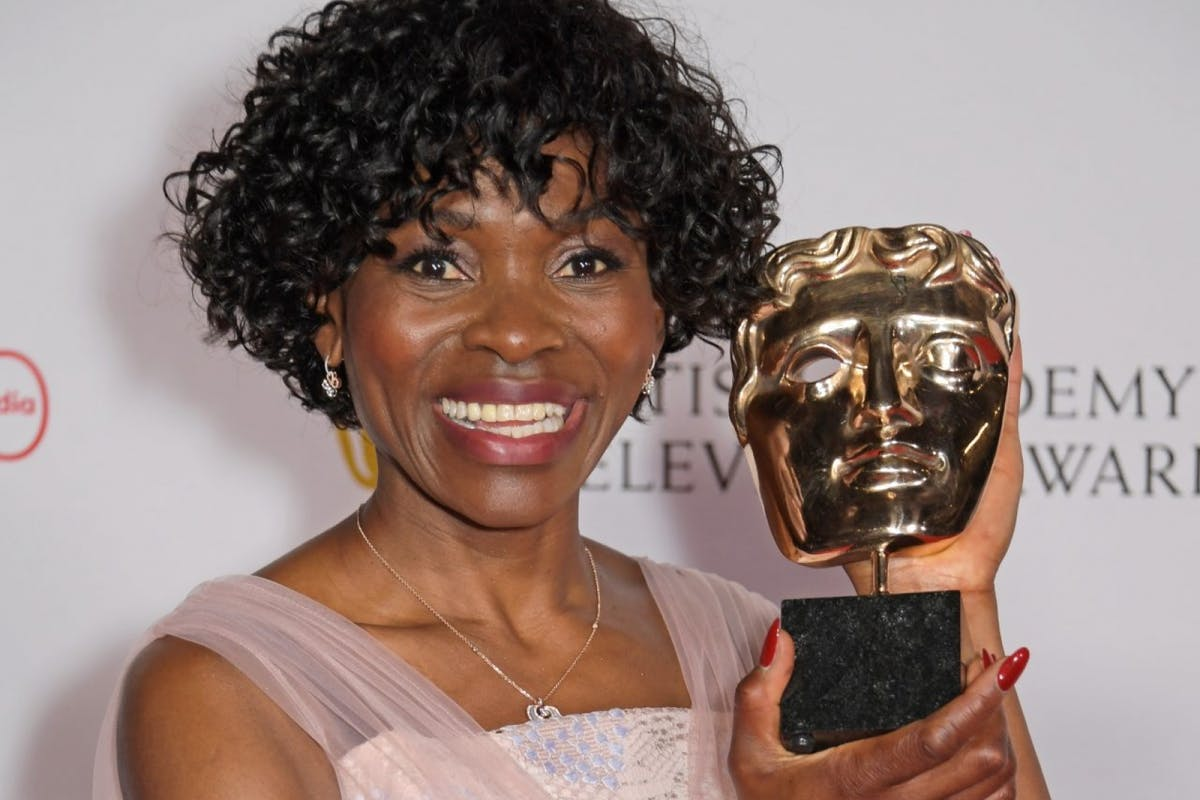 """Rakie Ayola, winner of the Best Support Actress award for her role in """"Anthony"""", poses in the Winners Room at the Virgin Media British Academy Television Awards 2021 at Television Centre on June 6, 2021 in London, England. (Photo by David M. Benett/Dave Benett/Getty Images)"""
