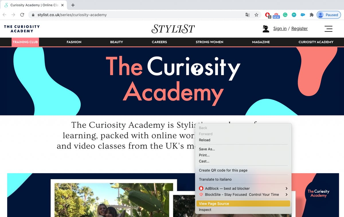 The Curiosity Academy homepage coding tutorial
