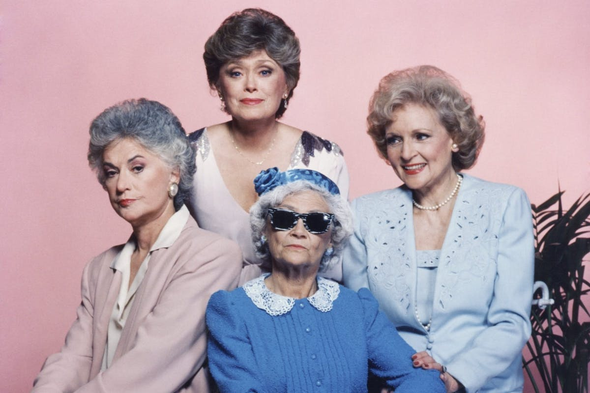 Beatrice Arthur (Dorothy), Rue McClanahan (Blanche), Betty White (Rose) and Estelle Getty (Sophia) in The Golden Girls