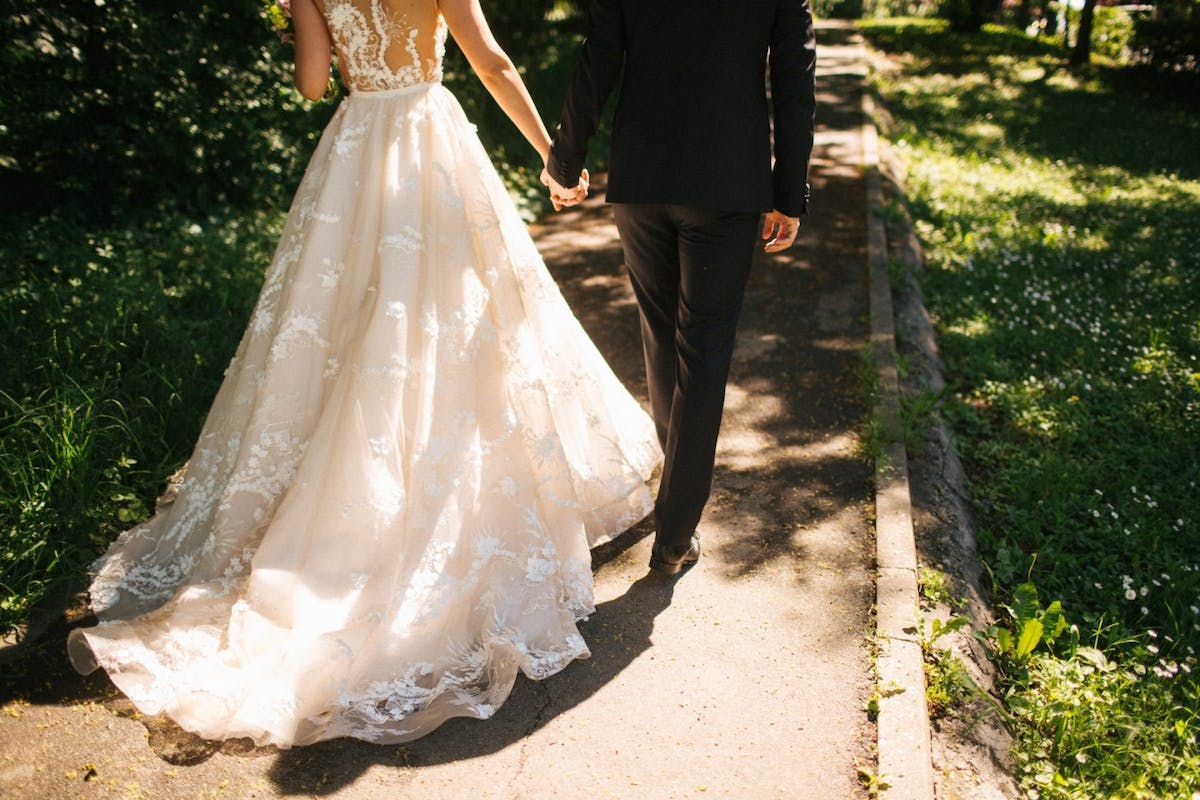 A man and woman on their wedding day