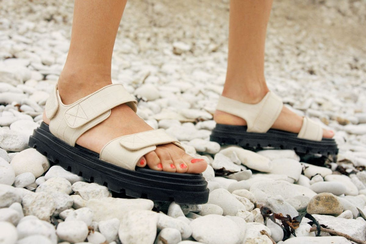 White sandals are big for summer