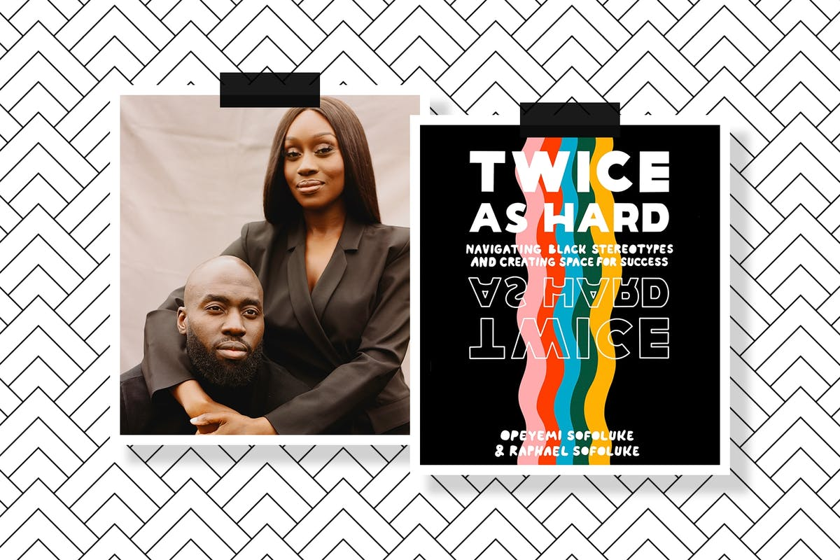 Raphael and Opeyemi Sofoluke alongside the cover of Twice As Hard