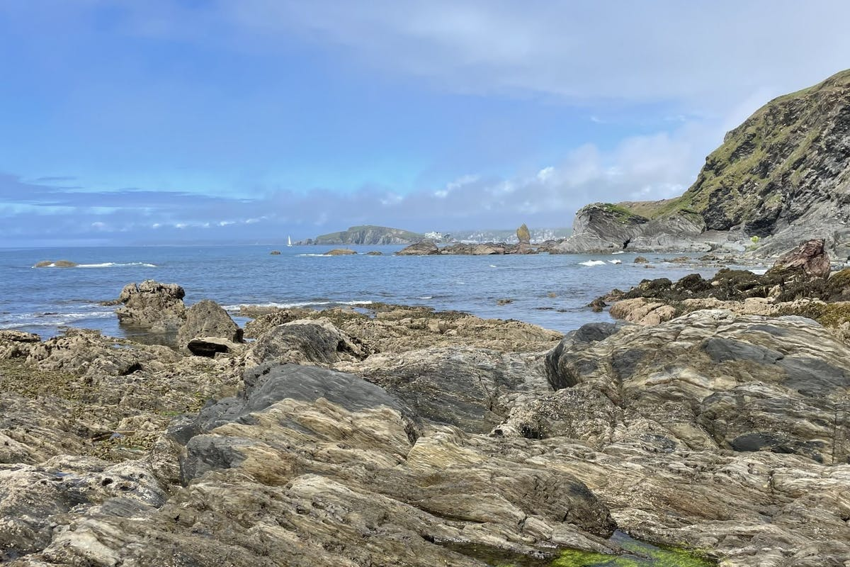Picture of the sea from rocky coastline in Thurlestone.