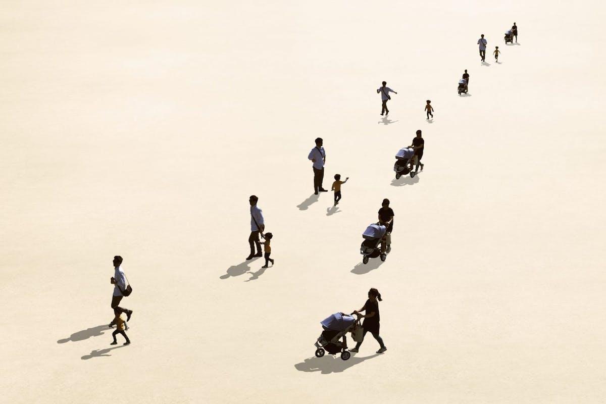 families walking