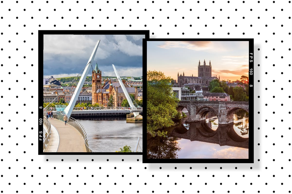 Underrated UK city breaks collage featuring Derry and Hereford