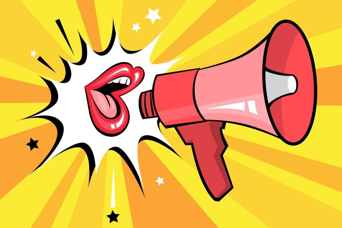 Open mouth with speech bubble promote business. Pop art retro poster with sexy red female lips and megaphone. Flat vector illustration