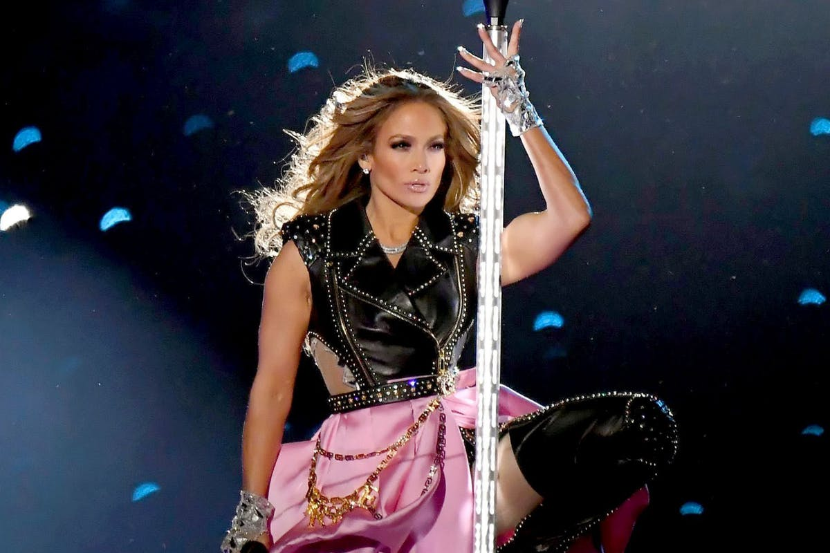 Jennifer Lopez performing at the 2020 Super Bowl halftime show