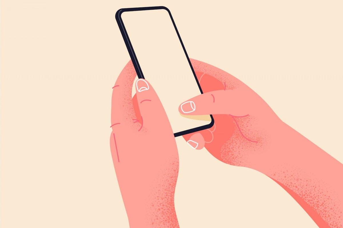 Illustration of woman holding phone