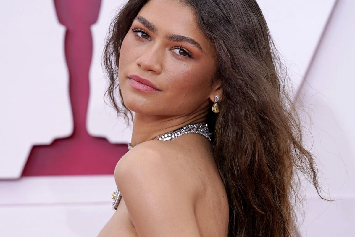 Zendaya, earing and necklace detail, attends the 93rd Annual Academy Awards at Union Station on April 25, 2021 in Los Angeles, California. (Photo by Chris Pizzello-Pool/Getty Images)