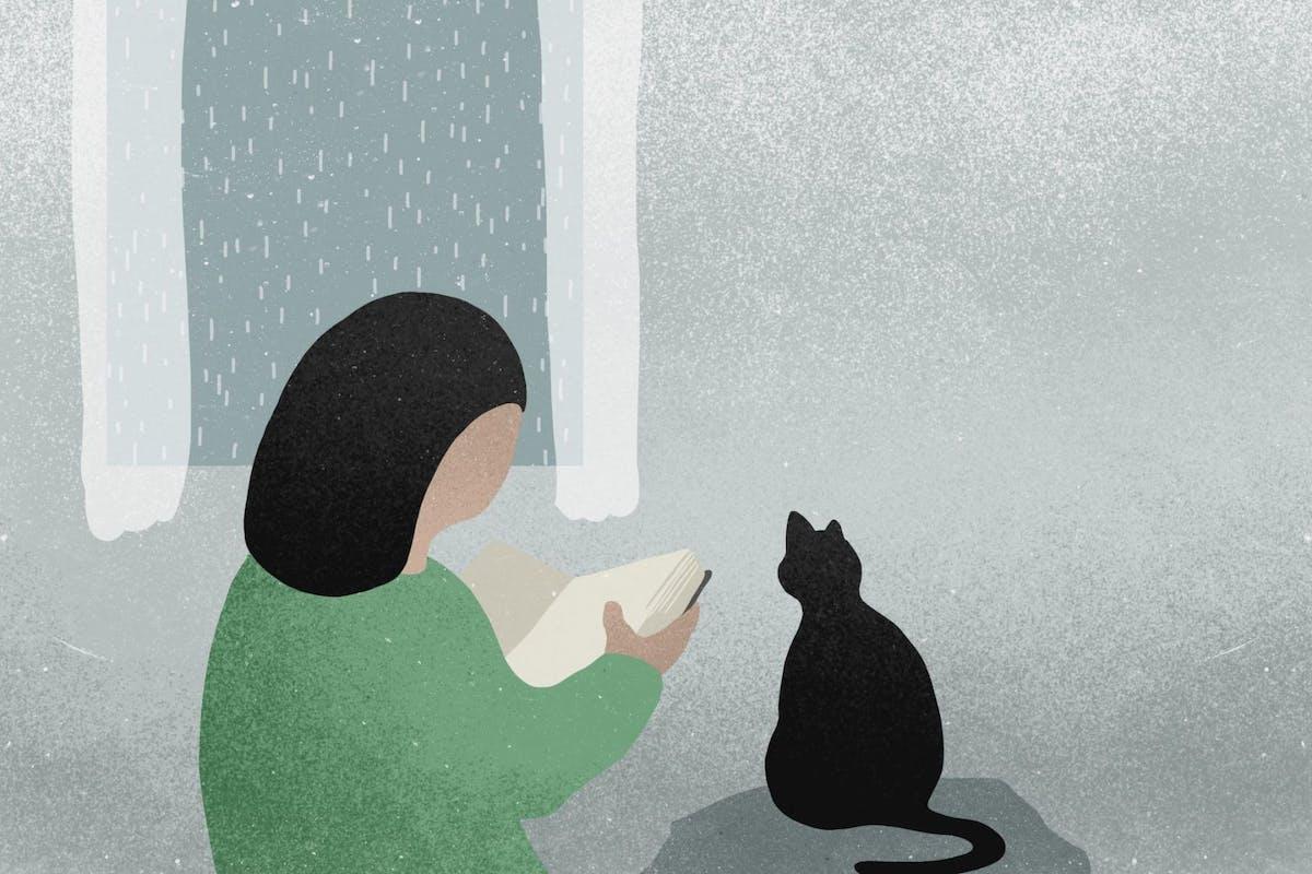 Illustration of woman reading alongside cat
