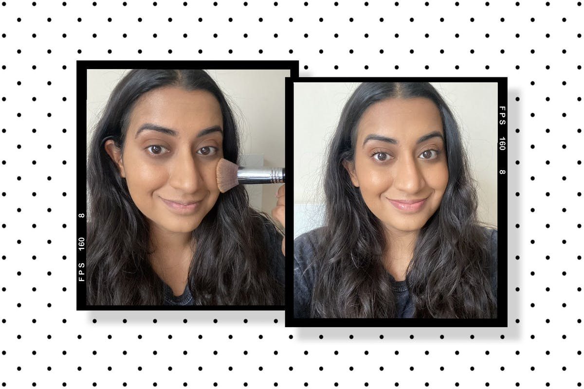 Hanna applying make-up and after applying foundation
