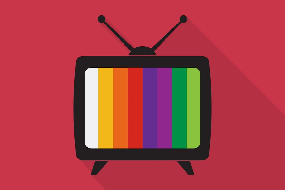 Television icon with long shadow on red background, flat design style - stock vector