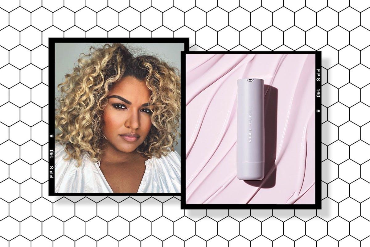 Collage of Michelle Sultan and Fenty Skin Hydra Vizor Invisible Moisturizer SPF 30