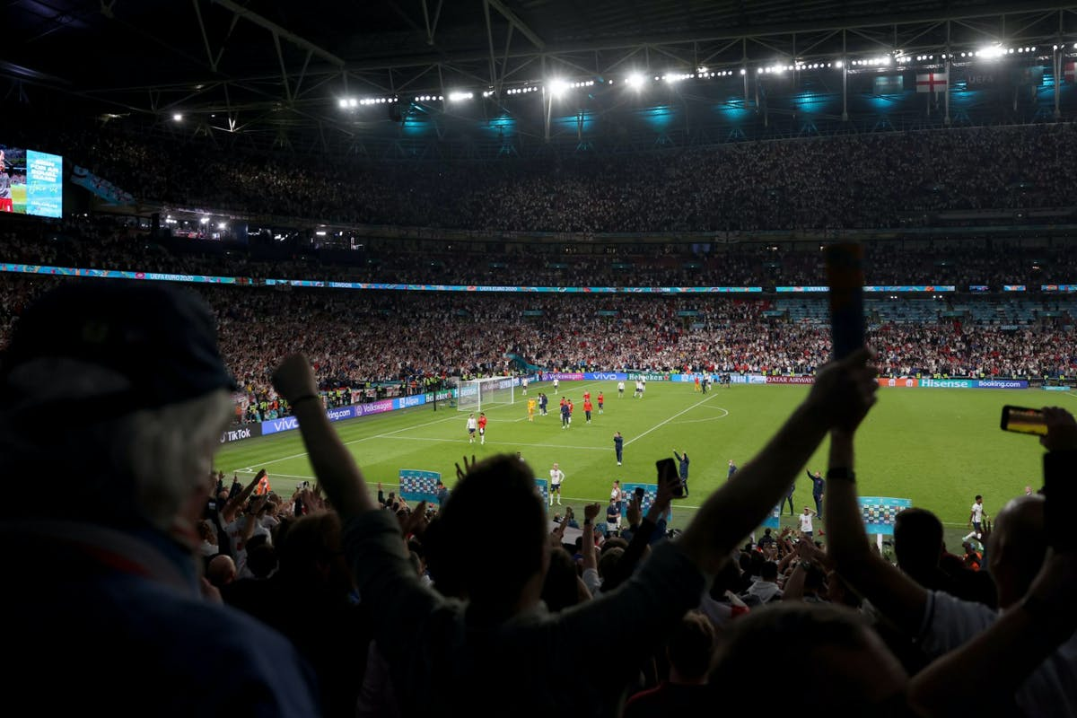 Football fans cheering