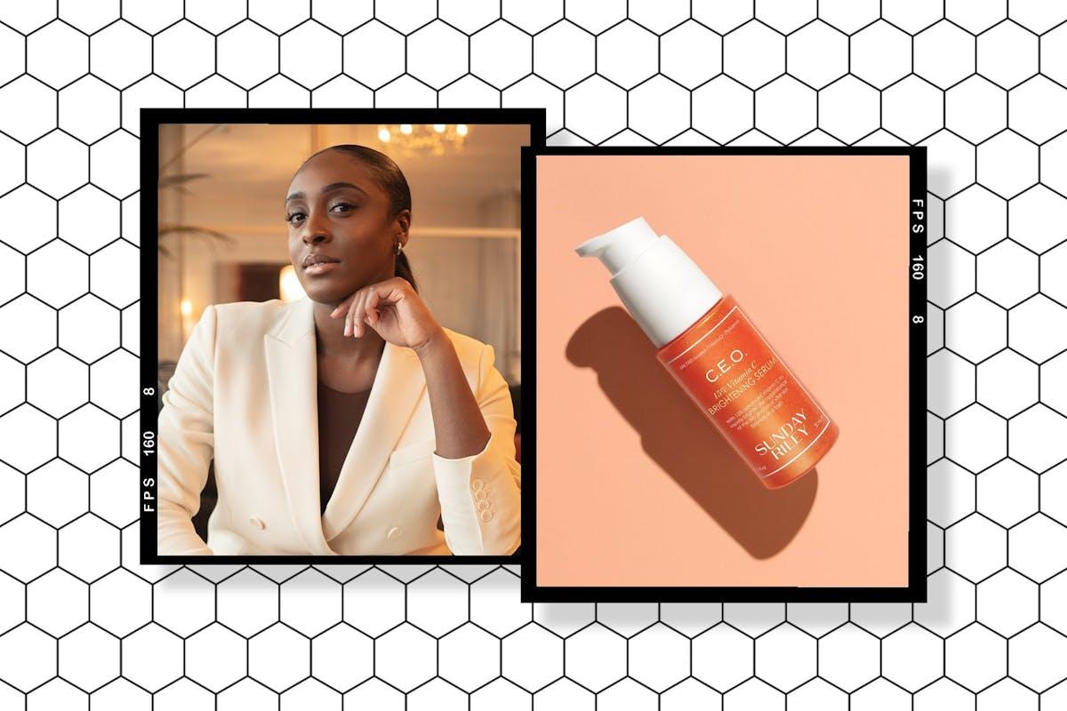 Collage of Dior Bediako and Sunday Riley C.E.O. 15% Vitamin C Brightening Serum