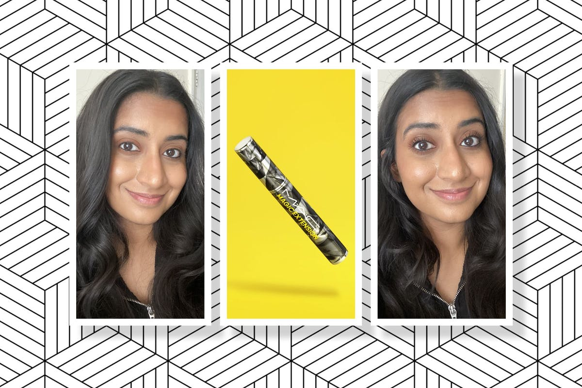 Collage of Hanna with no mascara (left), MAC's Magic Extension Mascara (middle) and the mascara on both eyes (right).