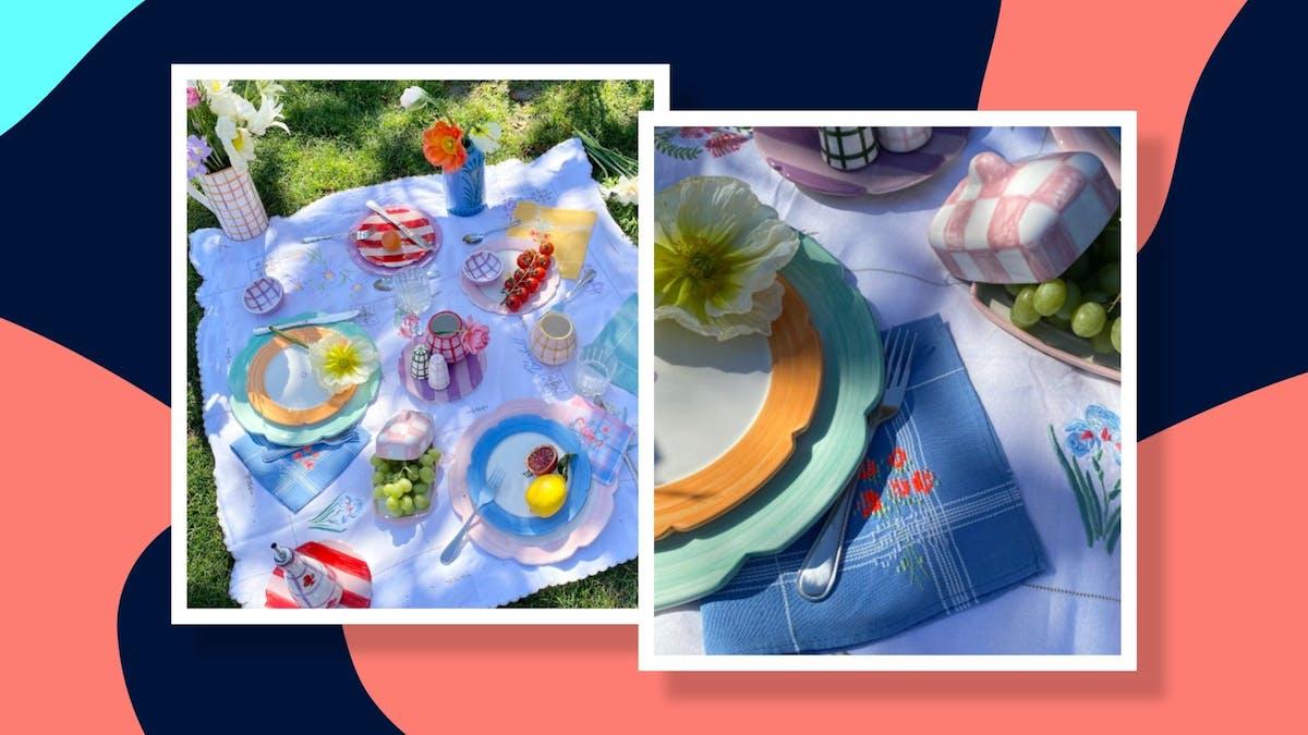 tablescape picnic pastel setup