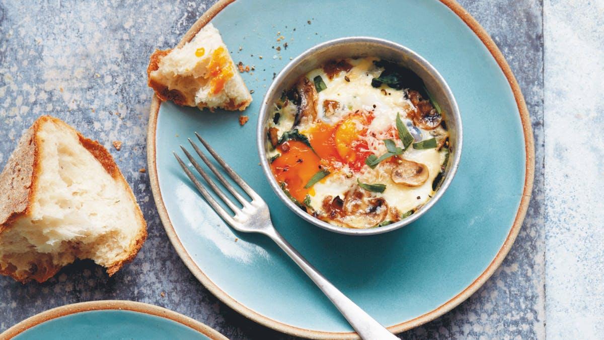 Baked mushroom and egg ramekins
