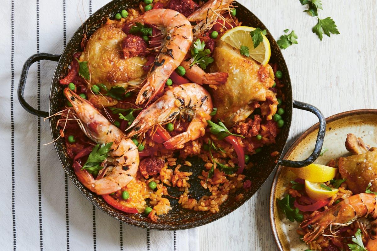 Baked chorizo, chicken and prawn Spanish rice