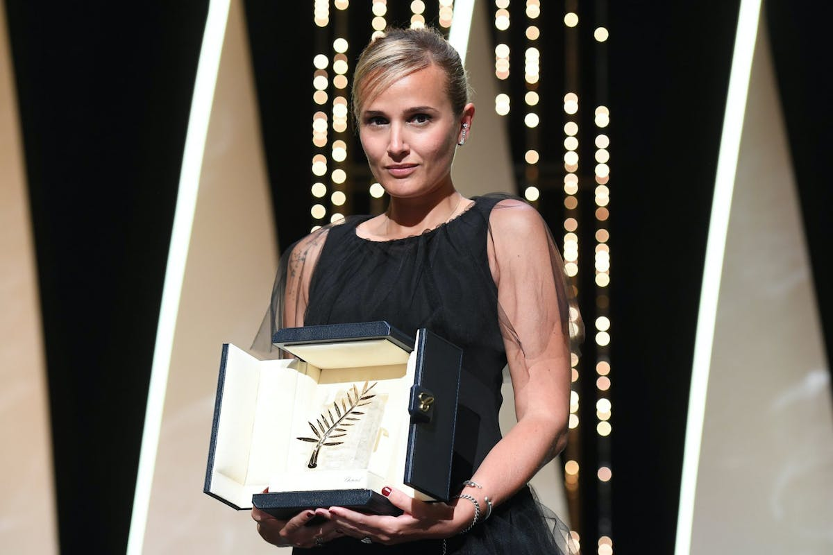 Julia Ducournau at Cannes after winning the Palme d'Or for Titane