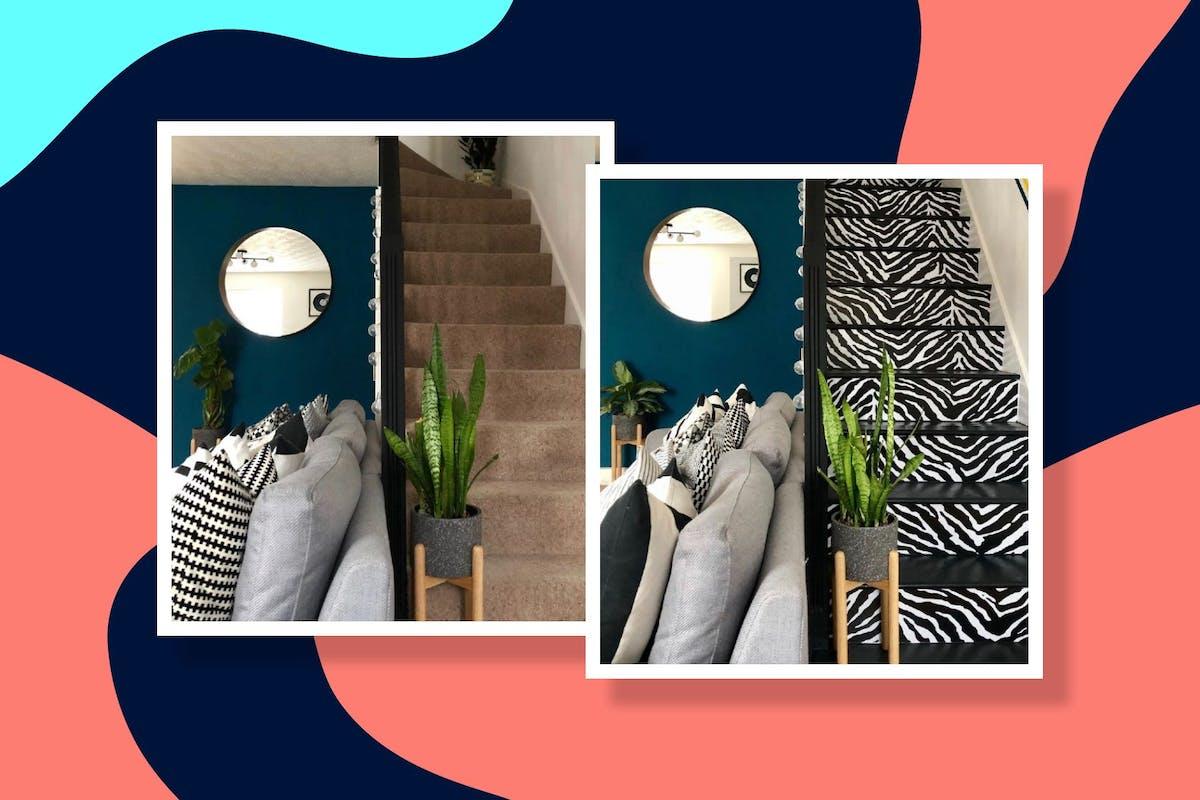 staircase renovation zebra print