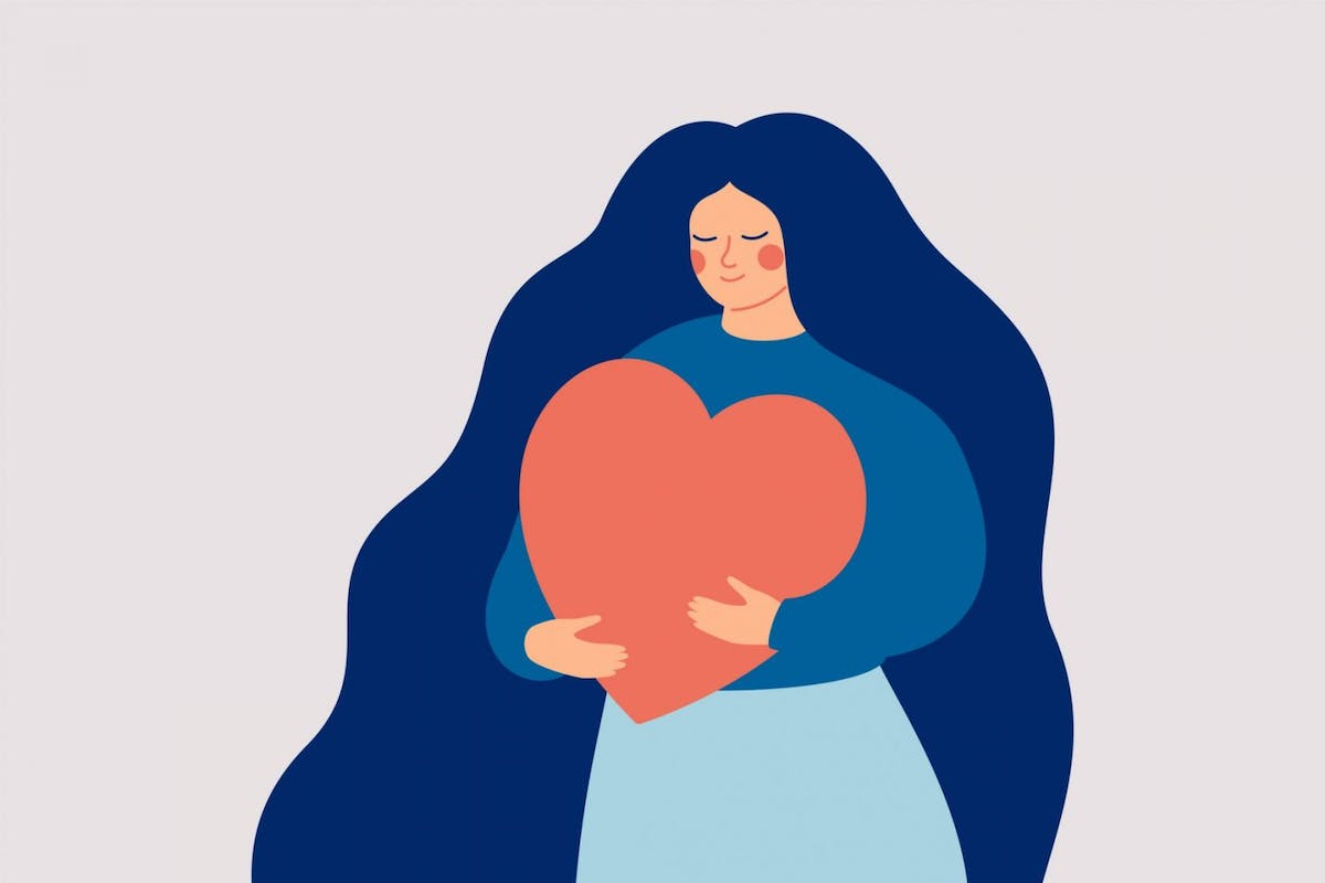 illustration of woman holding a heart