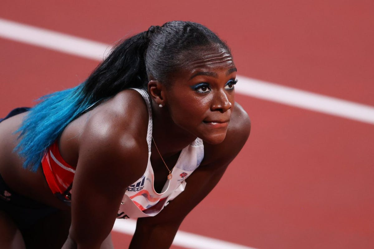Dina Asher-Smith on the track for the 100m relay