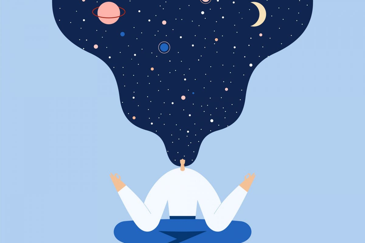 Woman sitting in yoga lotus pose. Night starry sky and moon in hair, space exploring, universal harmony. Vector flat illustration. - stock vector