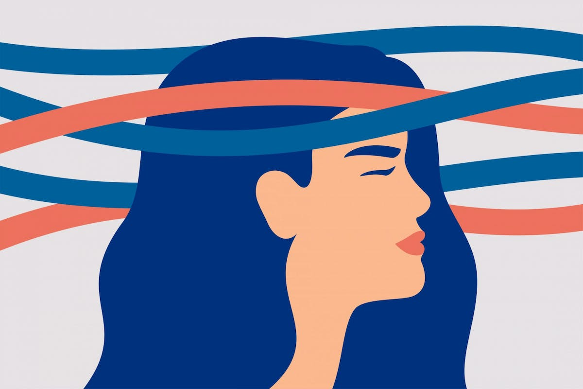 A woman with wavy lines around her head, symbolising a headache