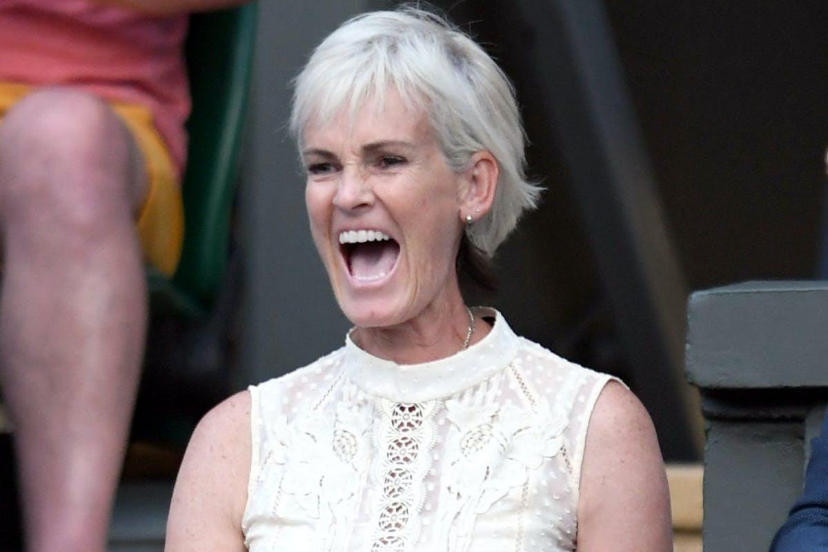 Judy Murray at the tennis celebrating