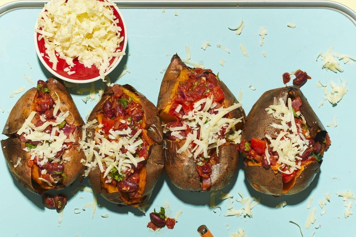 Vegetarian baked sweet potato jackets and ketchup chilli