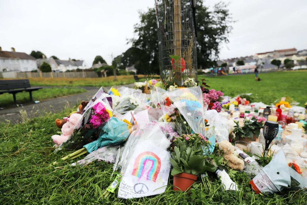 A ring of flowers laid in Plymouth