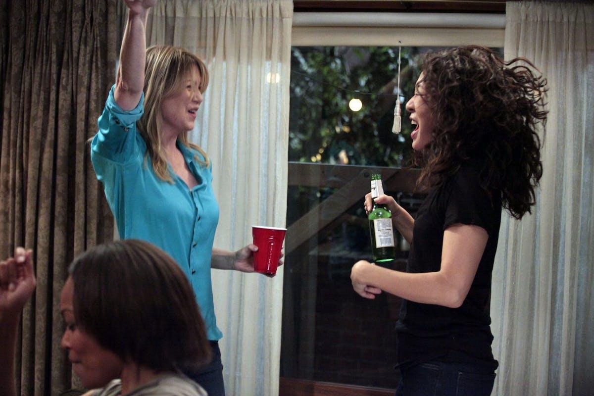 Ellen Pompeo and Sandra Oh in Grey's Anatomy.