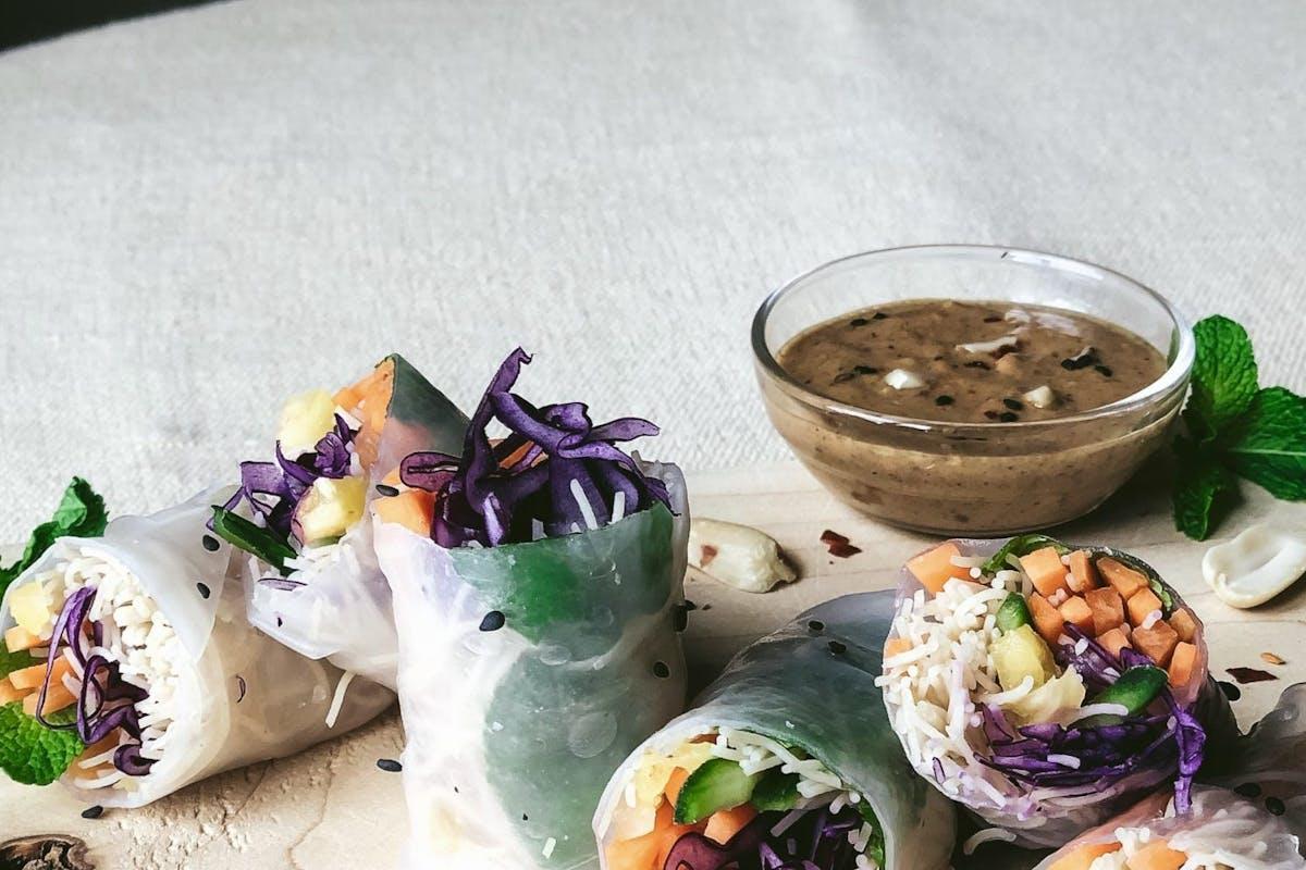 Rainbow rolls and satay dipping sauce