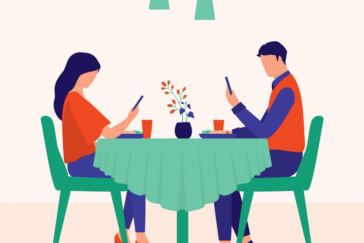 Couple Looking At Phones While Having Meal Together. Poor Communication And Technology Addiction Concept. Vector Illustration Flat Cartoon. - stock vector