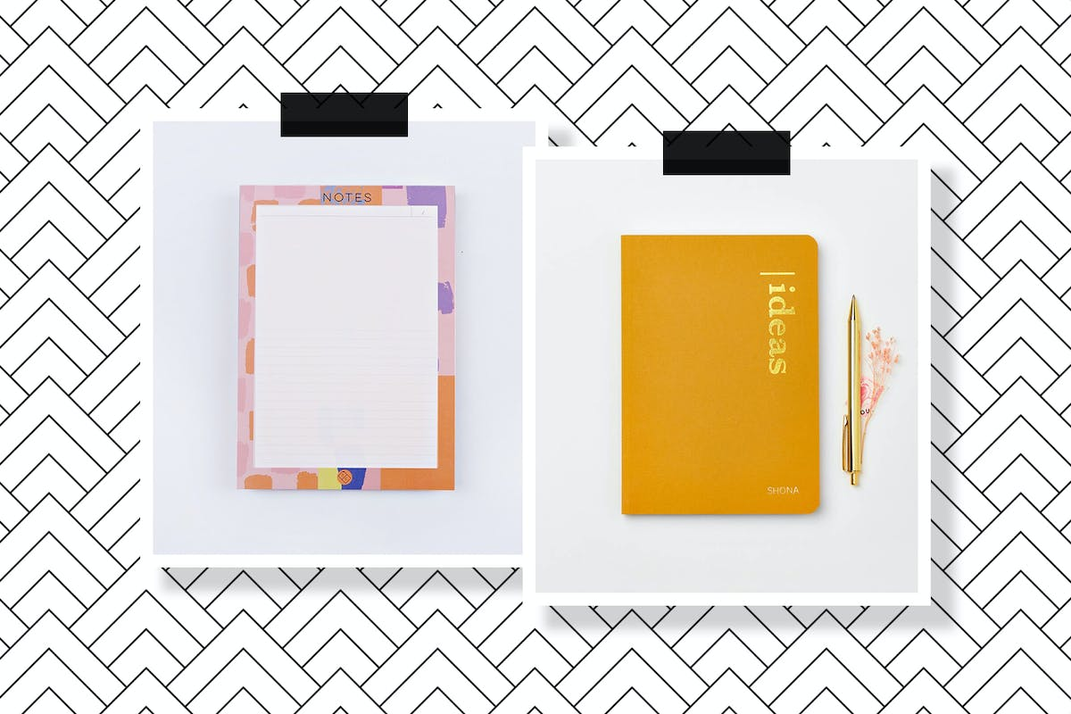 A planner pad and a notebook in a collage