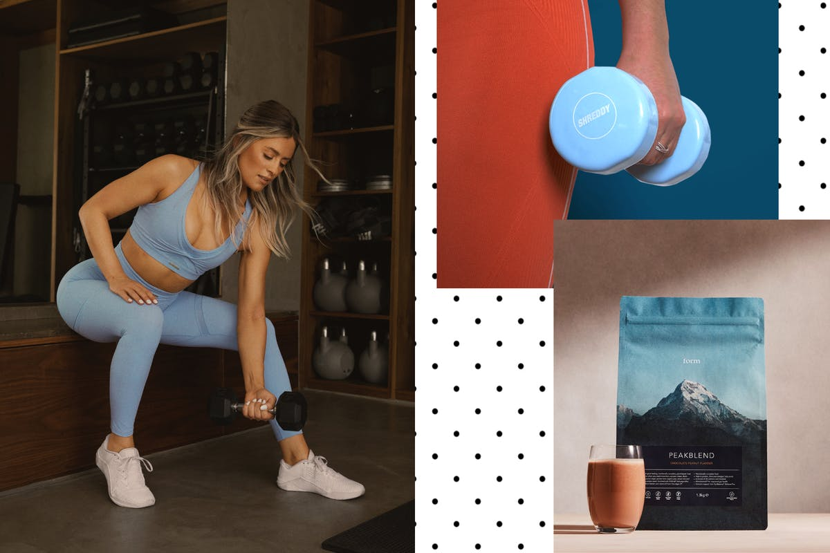 A collage of Whitney Simmons, Shreddy Dumbbells and Form protein