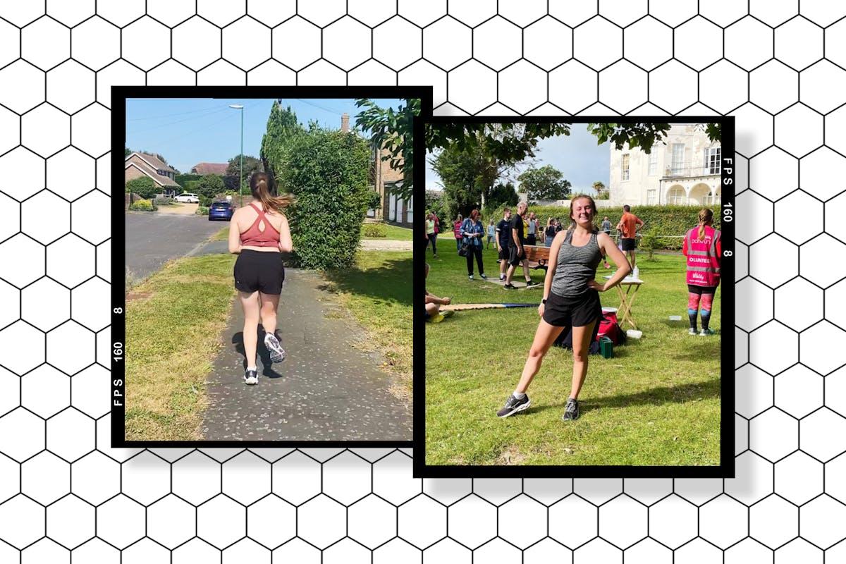 Two photos of Lauren running