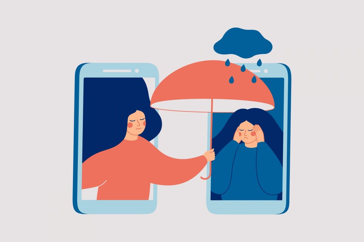 Girl comforts her sad friend over the phone. Woman consoles and cares about girl with psychological problems. - stock vector