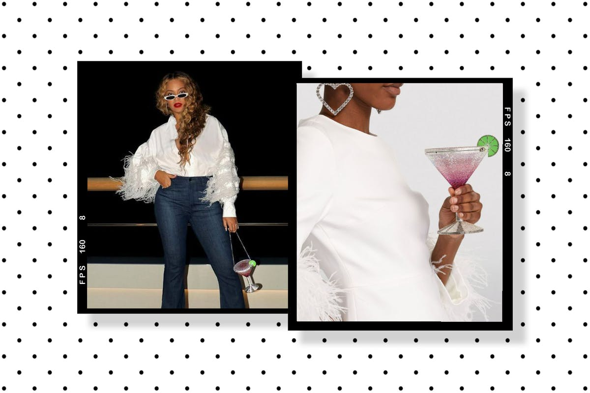 Beyoncé wearing a Judith Lieber martini cosmopolitan bag