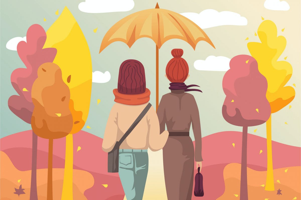 young women walking in autumnal park - stock vector
