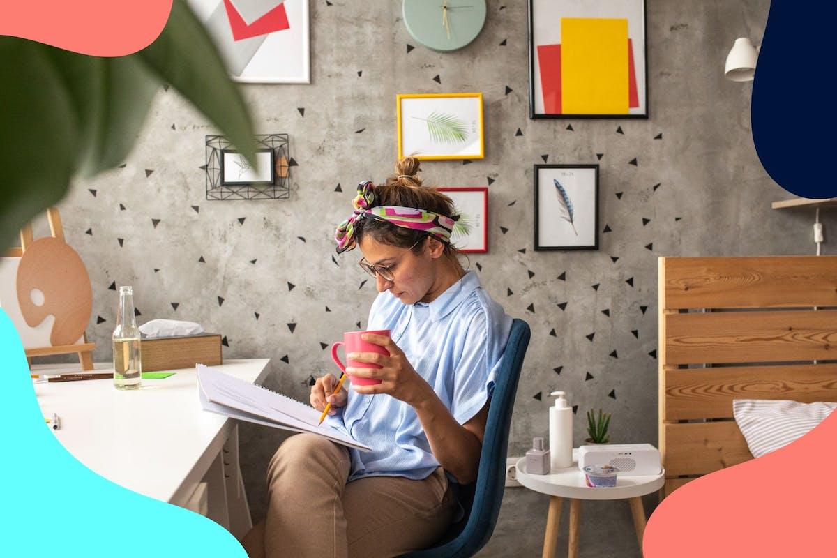 woman drawing at home