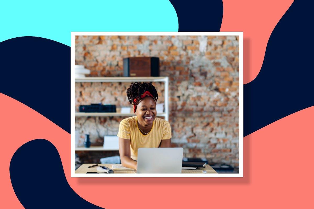 woman creating website