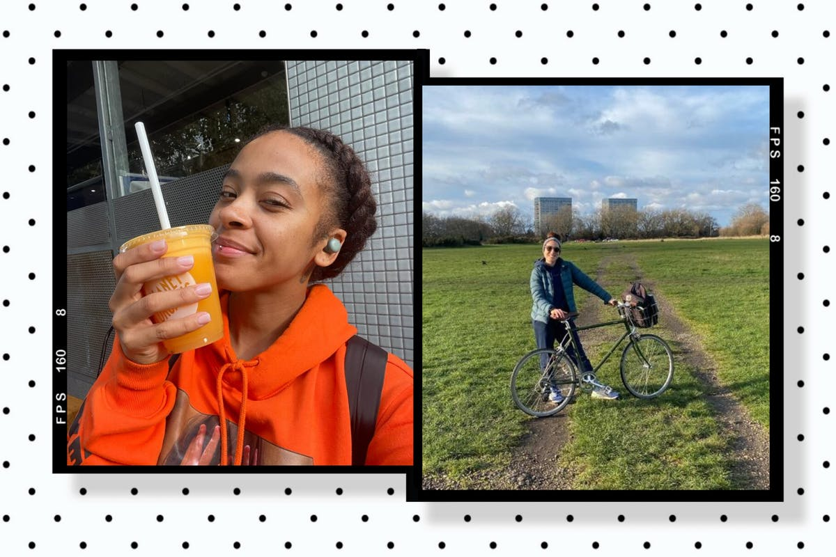 Collage of two women - drinking a smoothie and with a bike