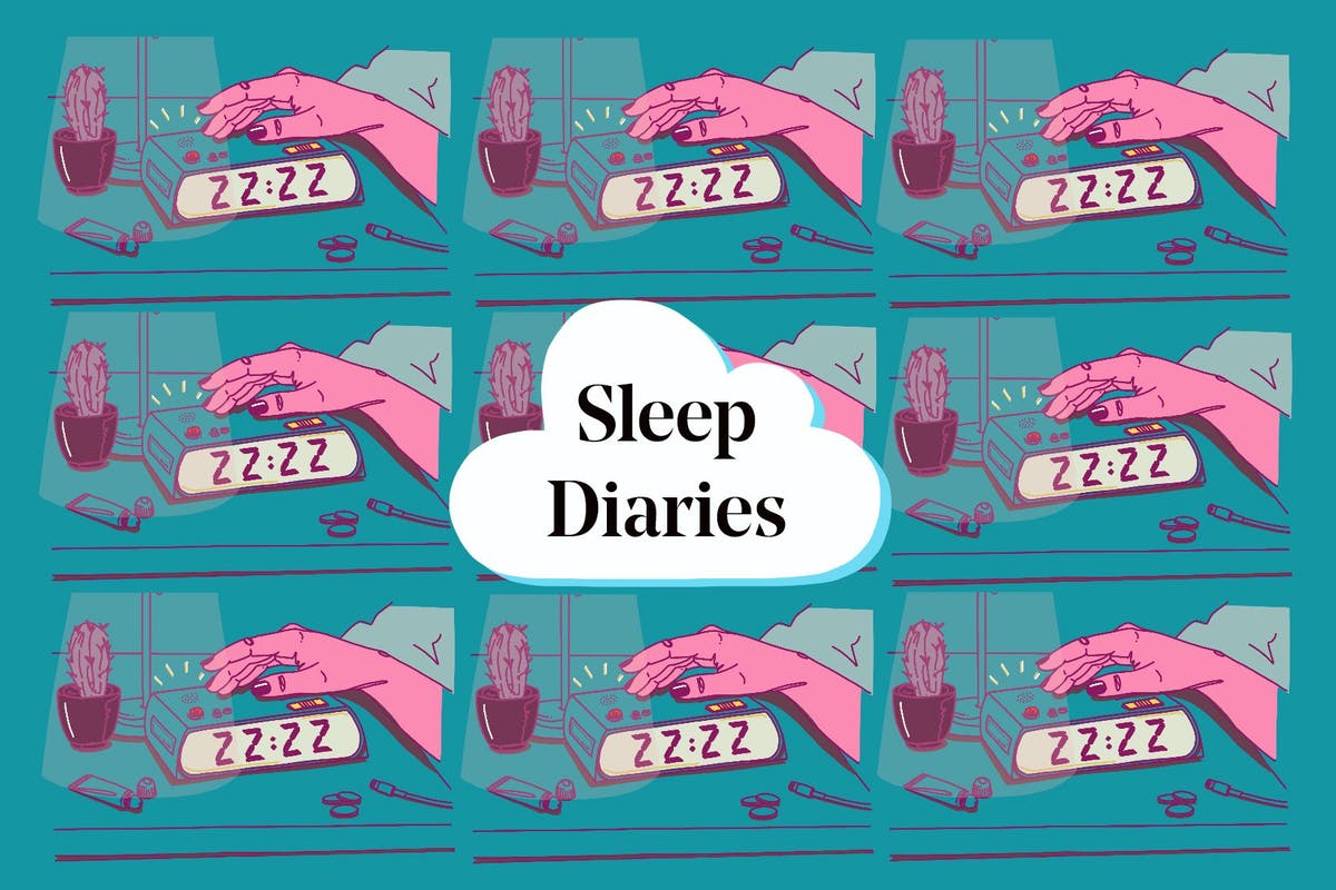 A collage of pictures of a person pressing an alarm clock with the words 'sleep diaries' over it